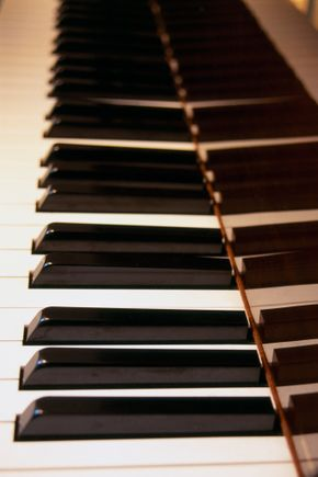 piano keys and reflection